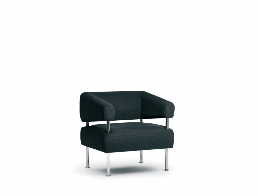Pledge Koko Single Seat Armchair With Elevated Back With Chrome Finish